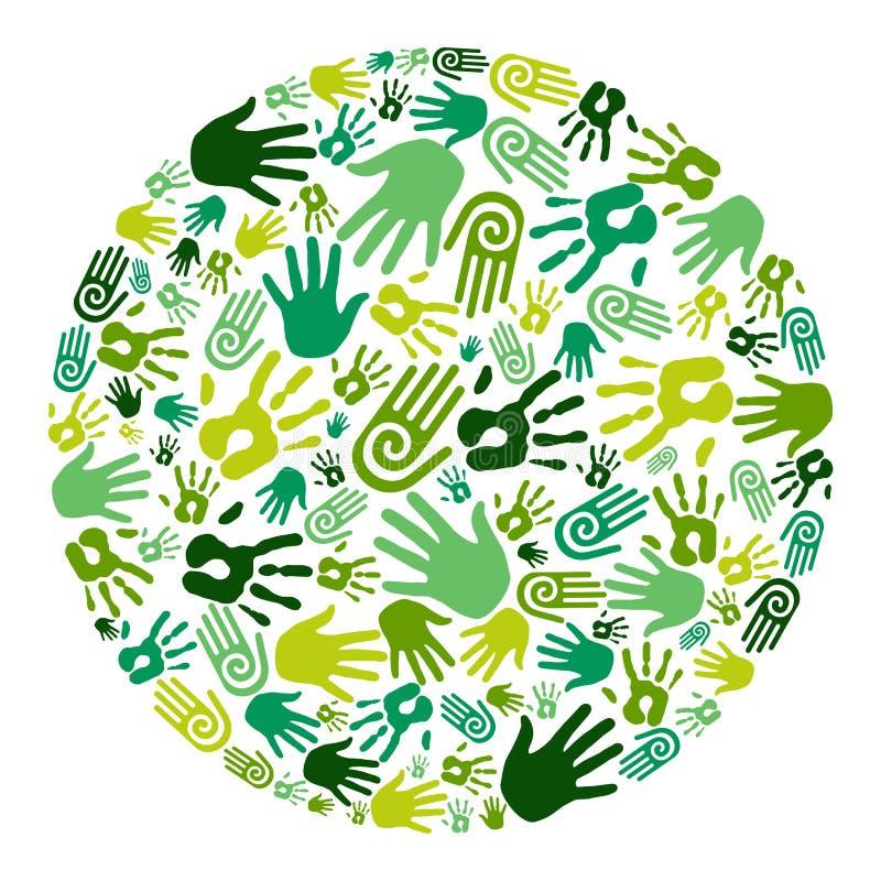 Va il cerchio verde delle mani royalty illustrazione gratis