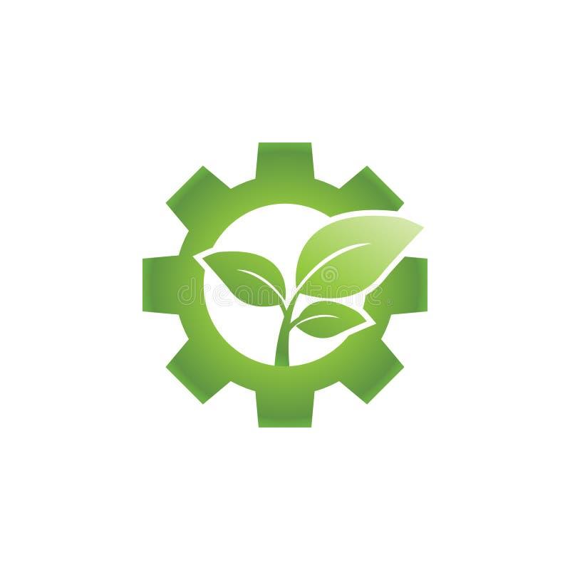 Va il concetto di progetto industriale verde di logo dell'ingranaggio e della foglia illustrazione vettoriale