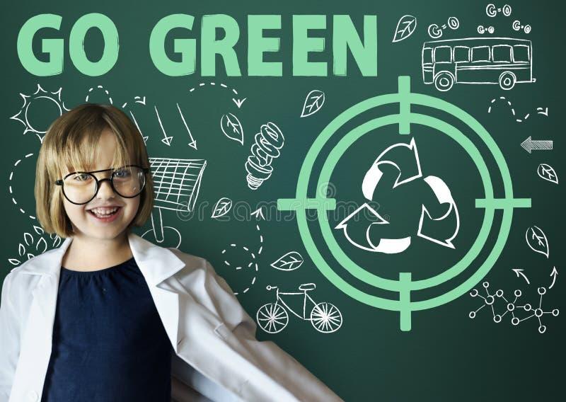 Va il concetto verde della freccia del bus di Sun di riutilizzazione fotografia stock