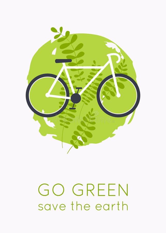 Va il marchio verde Bicicletta con erba Simbolo di trasporto di Eco Concetto moderno dell'illustrazione di vettore di progettazio illustrazione vettoriale