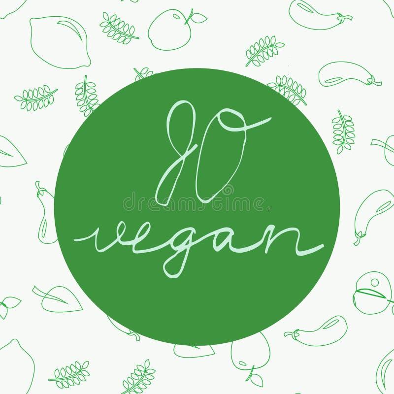 Va il vegano - manifesto o insegna motivazionale illustrazione di stock