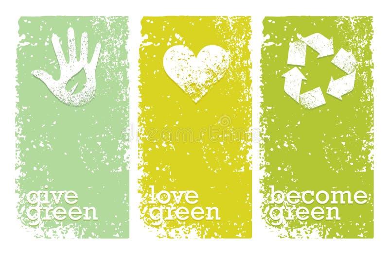 Va il verde ricicla riduce il concetto del manifesto di Eco di riutilizzazione Illustrazione organica creativa di vettore su fond illustrazione di stock