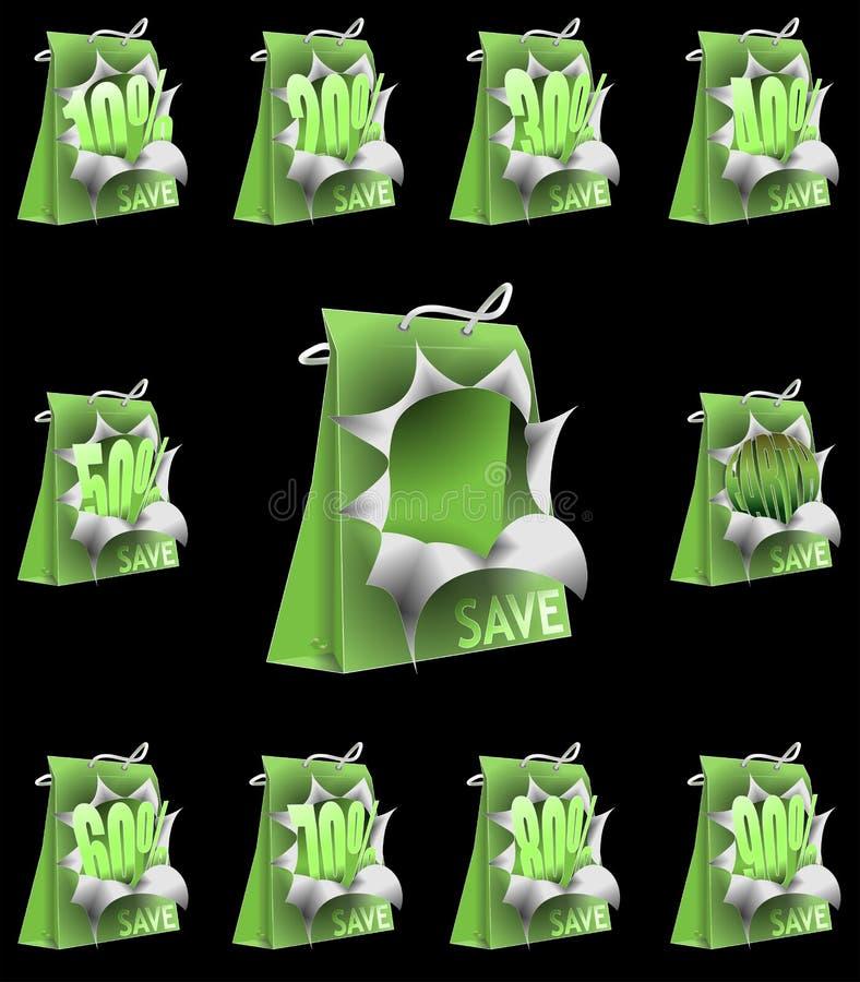 Va il verde salvo la priorità bassa del nero del sacchetto di acquisto della terra royalty illustrazione gratis