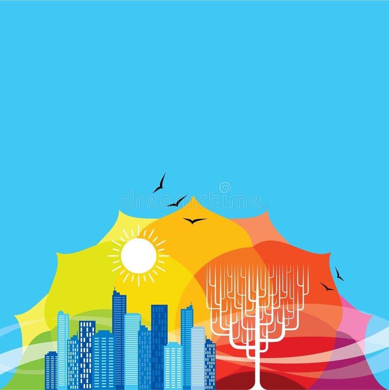 Va la ciudad verde en el tiempo de primavera, vector libre illustration