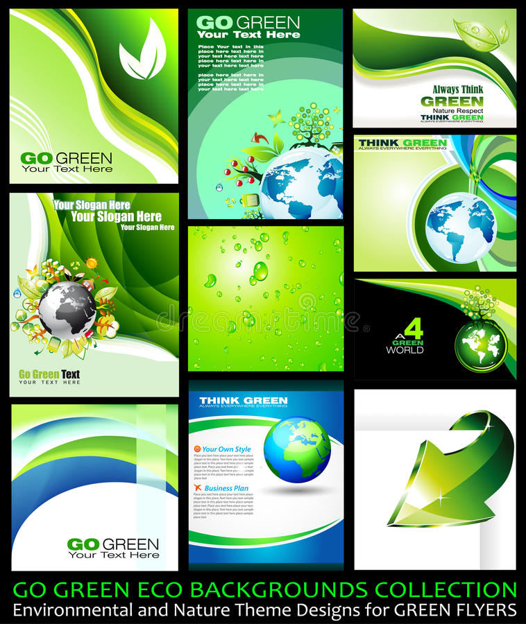 Va la colección verde de los fondos de Eco stock de ilustración