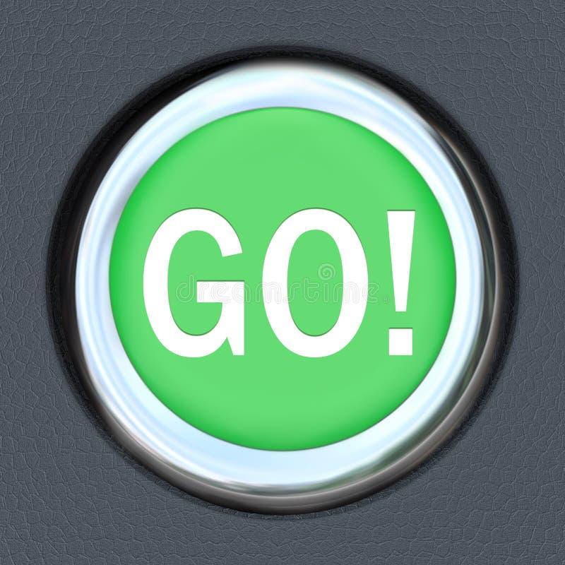 Va la palabra del botón del verde del comienzo del coche moverse adelante ilustración del vector