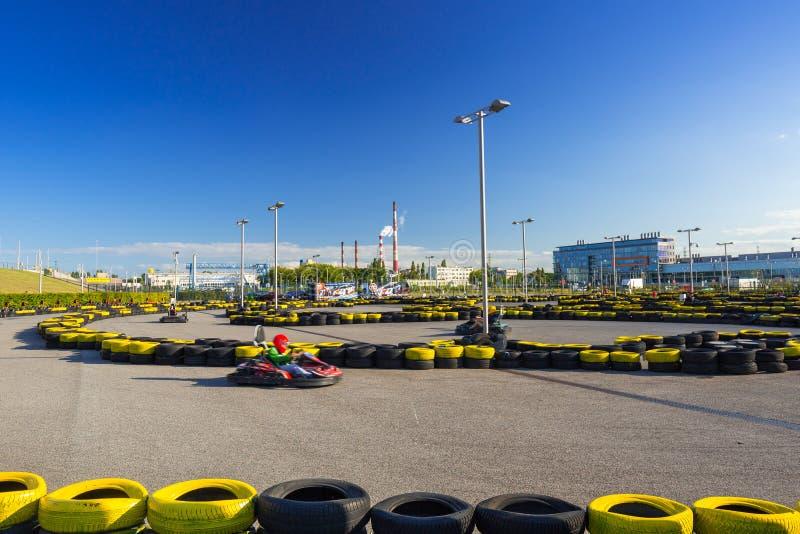 Va la pista del kart allo stadio di Energa a Danzica fotografie stock libere da diritti
