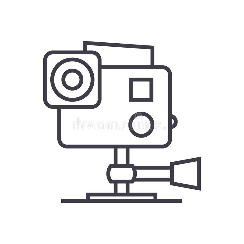 Va la pro linea l'icona, il segno, illustrazione di vettore della videocamera su fondo, colpi editabili royalty illustrazione gratis