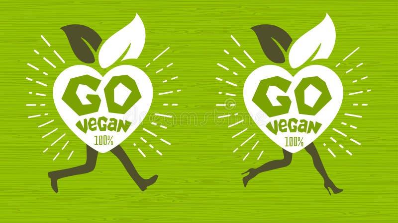 Va la progettazione sana di logo dell'emblema dell'ecologia del vegano che segna la progettazione con lettere fresca dell'autoade illustrazione di stock