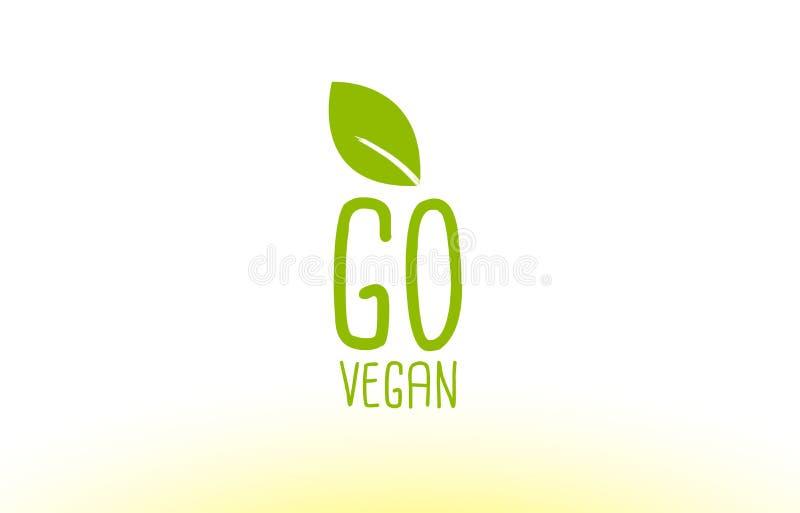 va la progettazione verde dell'icona di logo di concetto del testo della foglia del vegano royalty illustrazione gratis