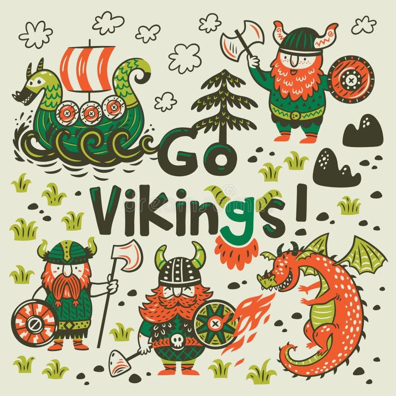 Va la tarjeta de la motivación de vikingos Personajes de dibujos animados lindos de vikingos, dragón ilustración del vector