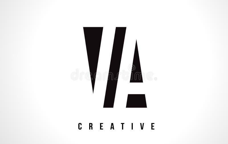 VA V een Witte Brief Logo Design met Zwart Vierkant royalty-vrije illustratie