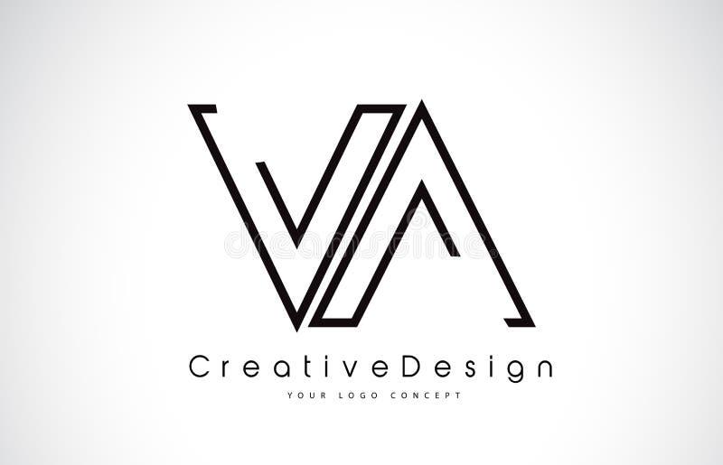 VA V uma letra Logo Design em cores pretas ilustração do vetor
