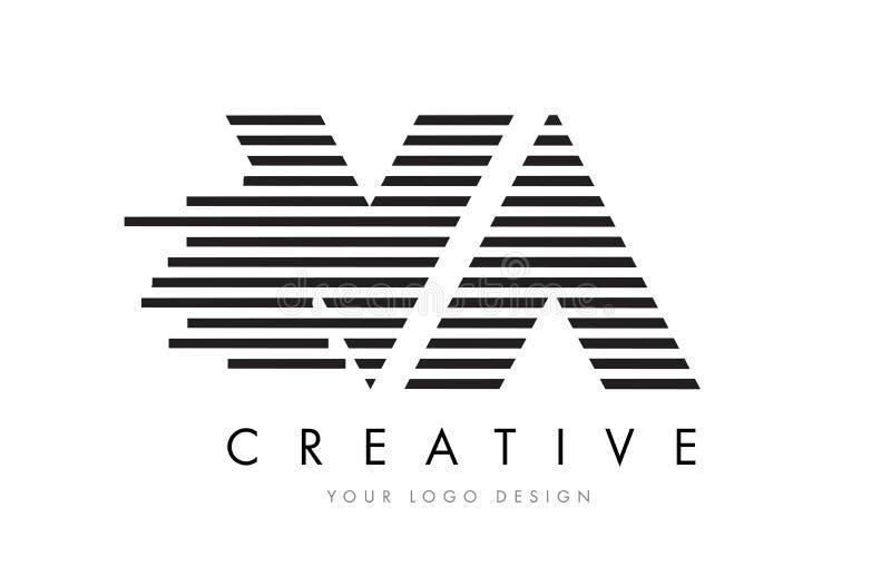 VA V A Zebra Letter Logo Design with Black and White Stripes stock illustration