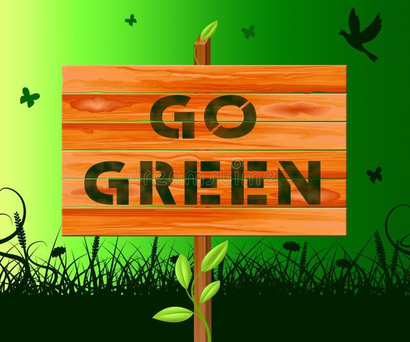Va verde mostrando a la ecología el ejemplo amistoso 3d libre illustration