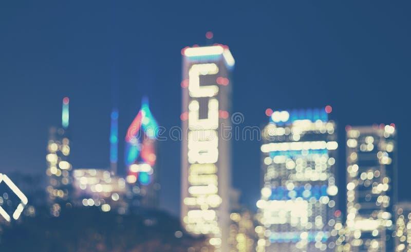 Vaag beeld van Chicago de stad in bij nacht, de V.S. royalty-vrije stock afbeelding