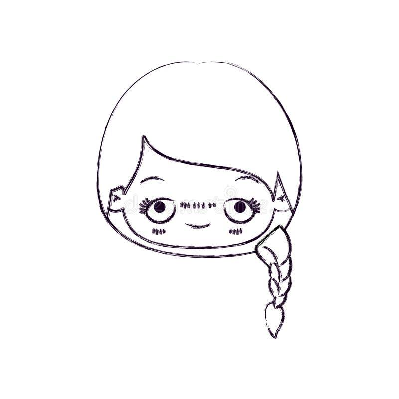 Vaag dun silhouet van kawaii hoofd leuk meisje met gevlecht haar en pijnlijke gelaatsuitdrukking vector illustratie