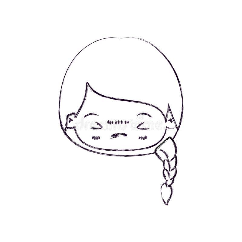 Vaag dun silhouet van kawaii hoofdmeisje met gevlecht haar en gelaatsuitdrukking boos met gesloten ogen royalty-vrije illustratie