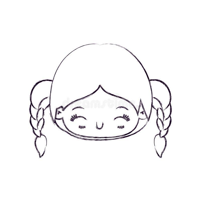 Vaag dun silhouet van kawaii hoofdmeisje met gevlecht haar en gelaatsuitdrukkinggeluk met gesloten ogen royalty-vrije illustratie