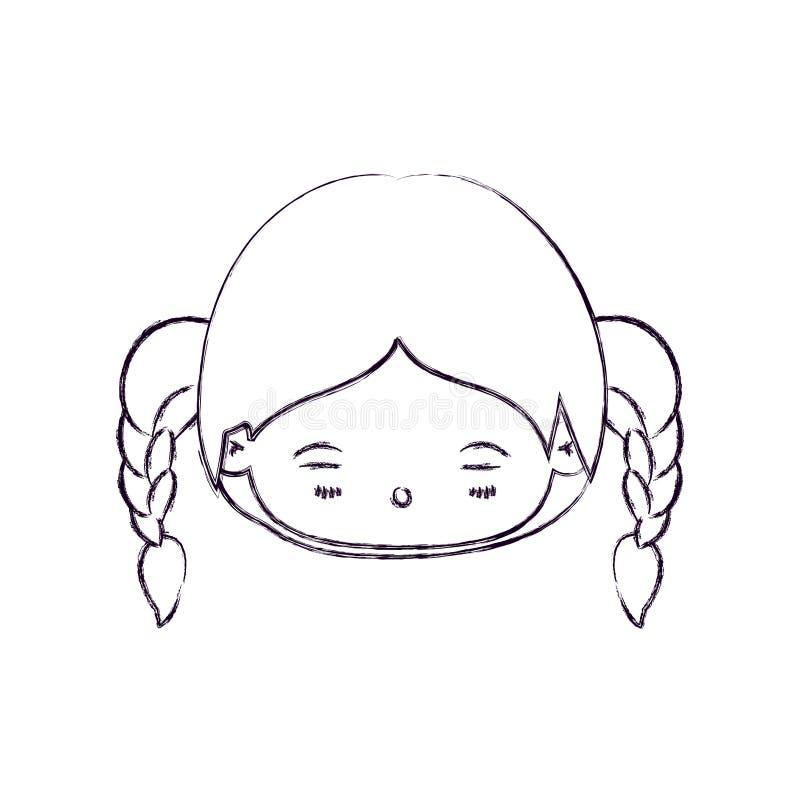 Vaag dun silhouet van kawaii hoofdmeisje met gevlecht haar en vermoeide gelaatsuitdrukking stock illustratie