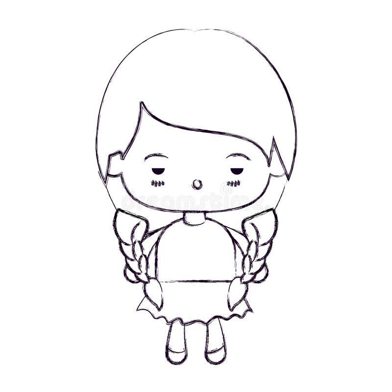 Vaag dun silhouet van kawaiimeisje met gevlecht haar en gedeprimeerde gelaatsuitdrukking stock illustratie
