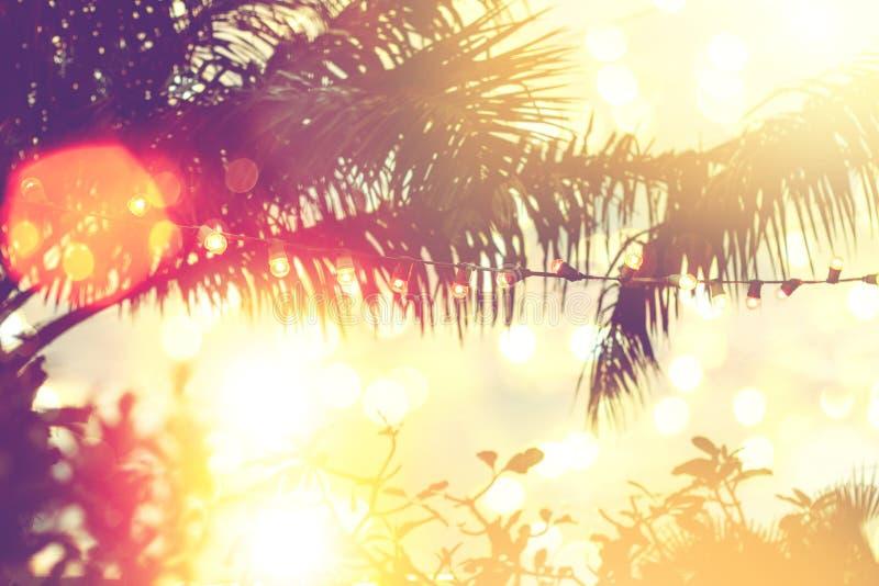 Vaag licht met de achtergrond van de kokosnotenpalm op zonsondergang, gele koordlichten met decor in openluchtrestaurant royalty-vrije stock afbeelding