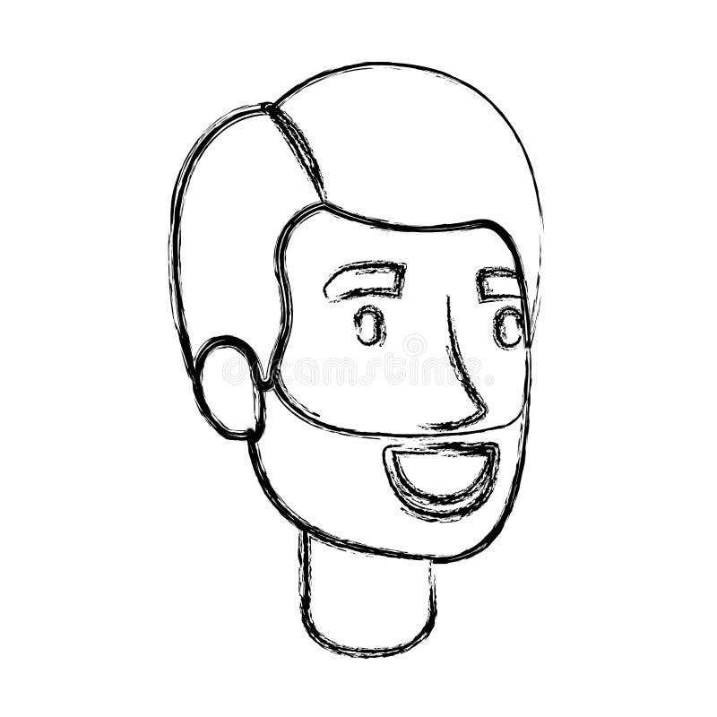 Vaag silhouet van gebaard mensengezicht met zijhaar royalty-vrije illustratie