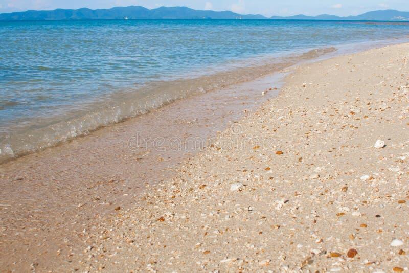 Vaag strand met verpletterde overzeese shells bij het overzees stock foto