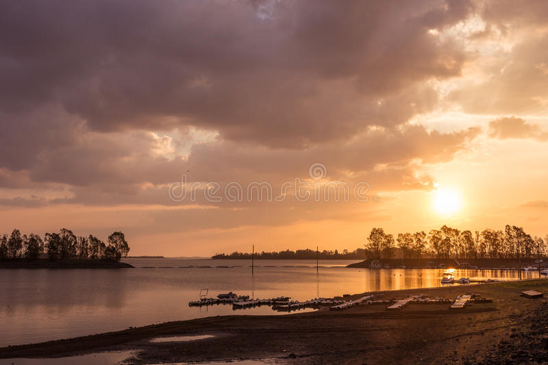 Vaal beaut. The sun drops over the Vaal Dam in South Africa royalty free stock photography