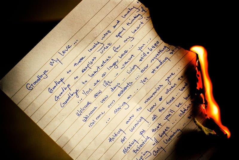 Vaarwel brief het branden stock afbeeldingen
