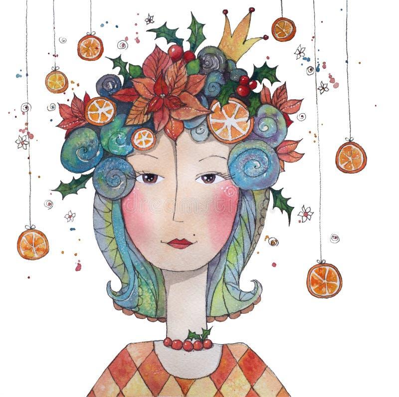 Vaarwel de Winterprinsen met hulst, sinaasappelen en poinsettia vector illustratie