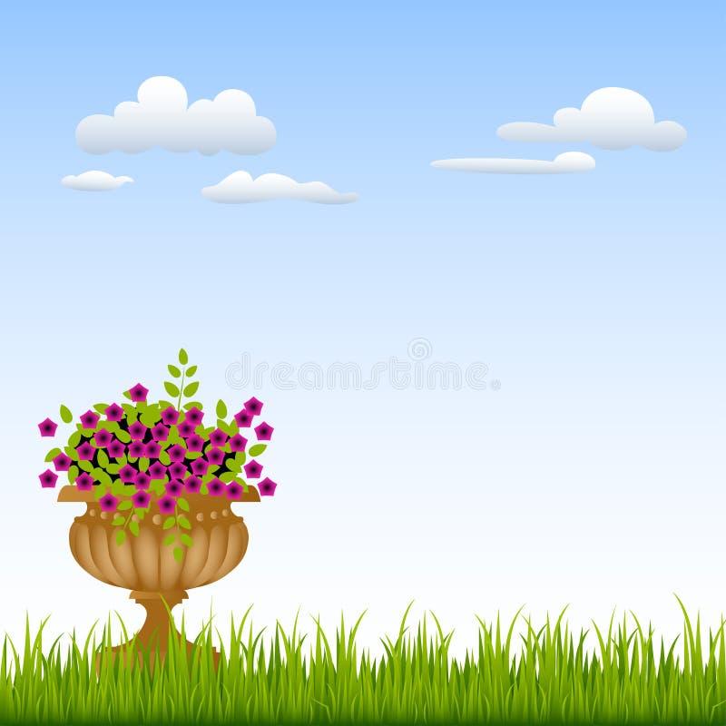 Vaas met bloemen op een groen gras voor royalty-vrije illustratie