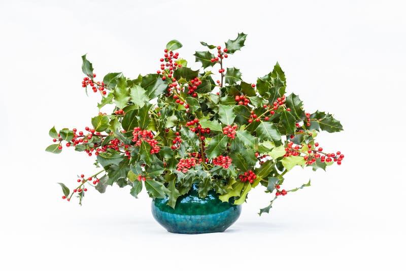 Vaas van kleurrijke Kerstmishulst met rode bessen royalty-vrije stock foto's