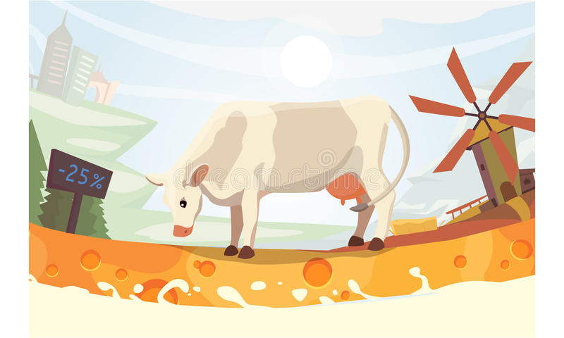 Vaca bonito com ilustração do vetor de Milk River exploração agrícola colorida do fith da paisagem animal do mamífero dos desenho ilustração royalty free
