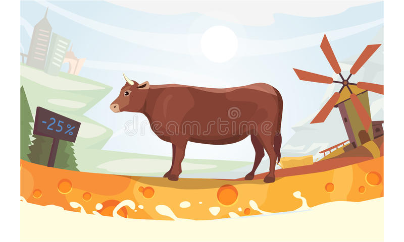 Vaca bonito com ilustração do vetor de Milk River exploração agrícola colorida do fith da paisagem animal do mamífero dos desenho ilustração stock