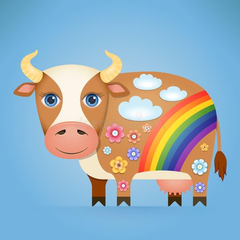Vaca bonito dos desenhos animados ilustração do vetor