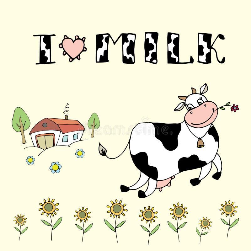 A vaca bonito dos desenhos animados, o fundo da exploração agrícola e eu amam a inscrição do leite ilustração royalty free
