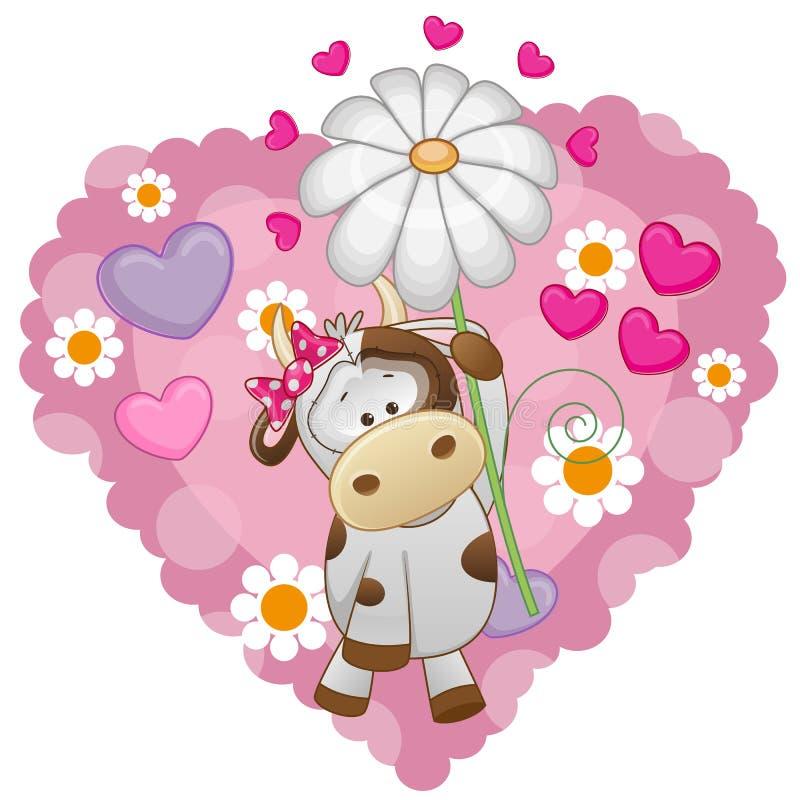 Vaca com corações e flor ilustração royalty free