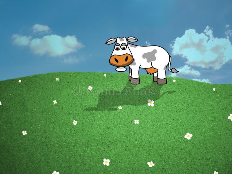 Vaca com estrados ilustração do vetor