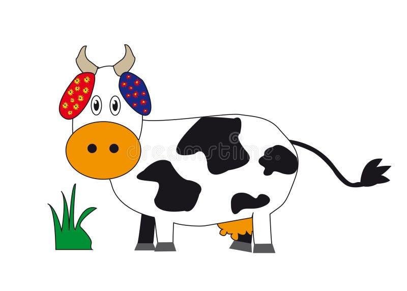 Vaca com flores ilustração royalty free
