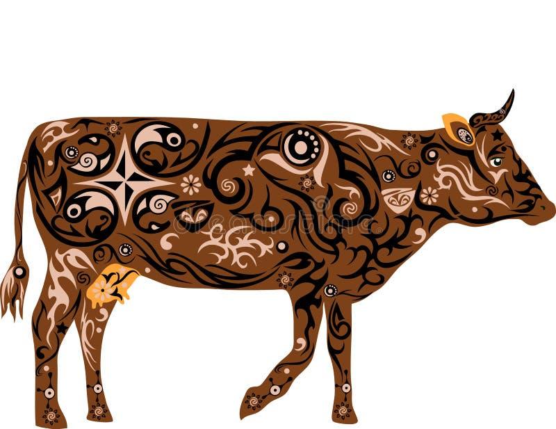 Vaca com um teste padrão das flores, uma ilustração animal com um teste padrão, uma vaca de leite com uma teta, o mamífero que or imagem de stock royalty free