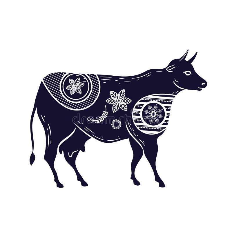 Vaca com um teste padrão de flor Imagem do vetor Gado Horned ilustração stock