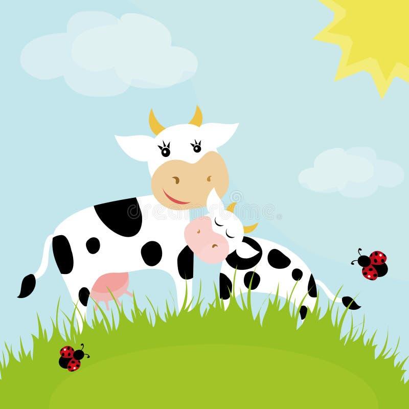 Vaca com uma vitela ilustração do vetor