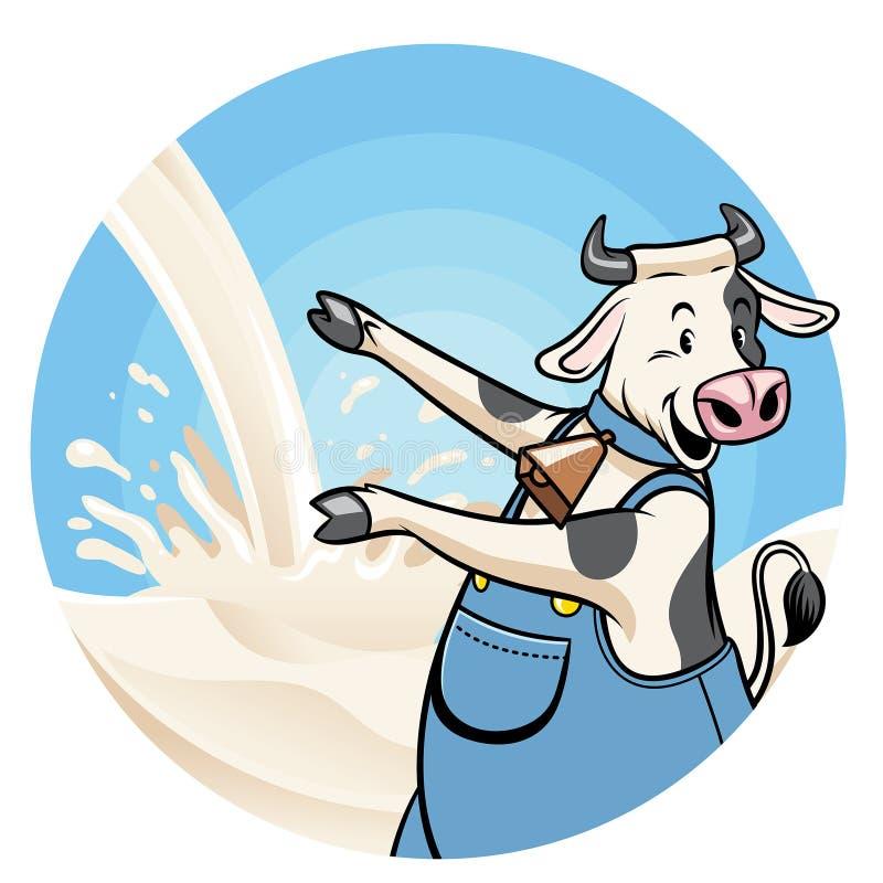 Vaca con el fondo del chapoteo de la leche libre illustration