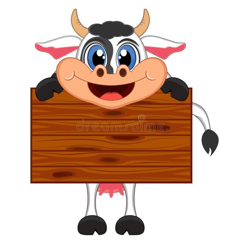 Vaca con la historieta del tablero de madera ilustración del vector