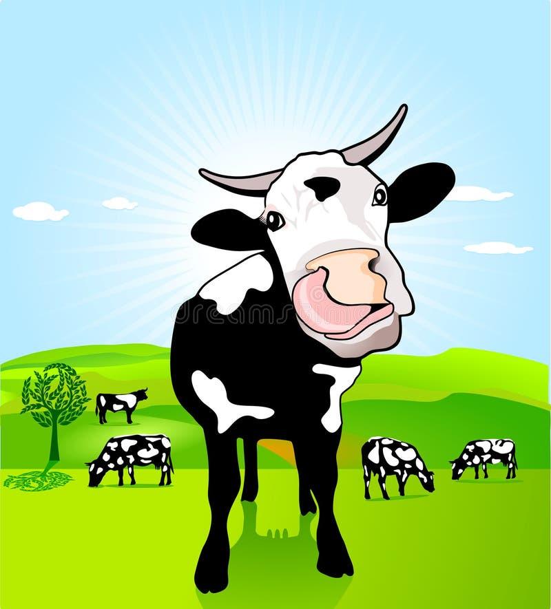 Vaca con la lengüeta floja stock de ilustración