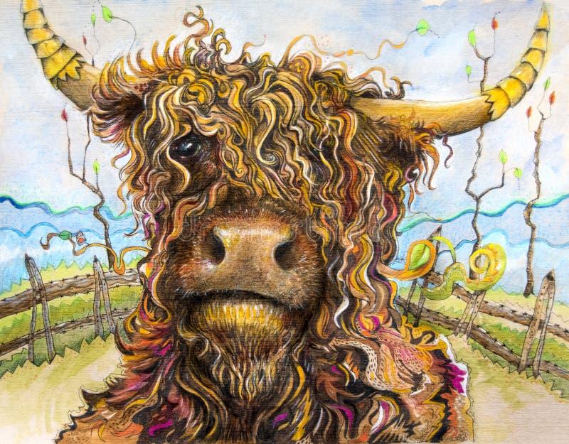 Vaca das montanhas com arte do cabelo encaracolado ilustração stock