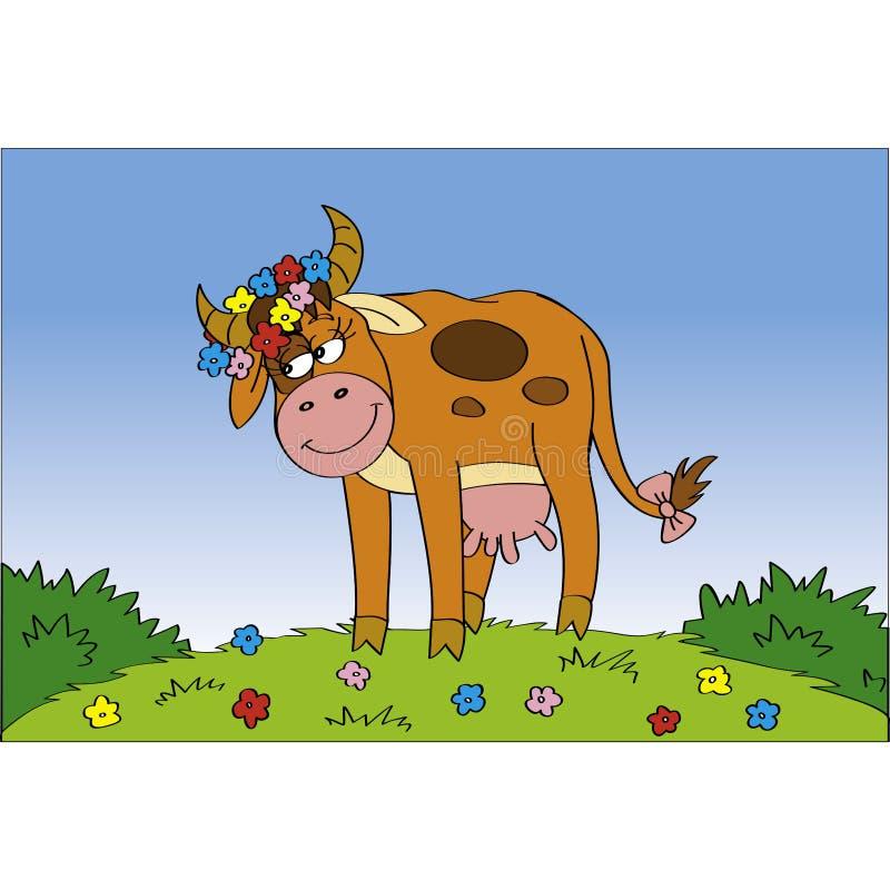Vaca de Cutie no prado ilustração stock