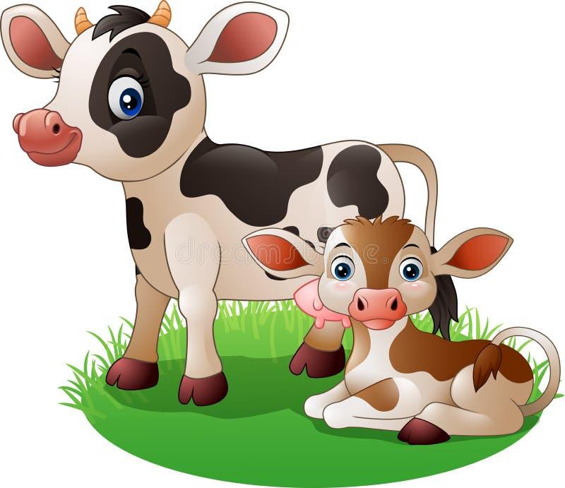 Vaca de la historieta con el becerro recién nacido libre illustration