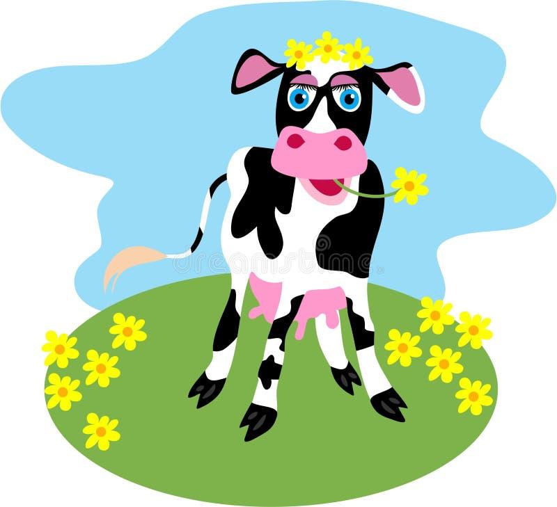 Vaca de la margarita stock de ilustración